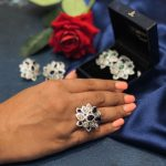 pear shaped floral ring