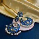 turquoise kundan earrings