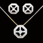 Diamond Pendant And Earrings Set