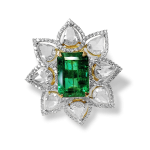 Emerald Ring With Rose Cut Diamonds