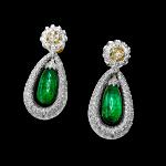Emerald Drop Earrings With Diamonds