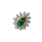 Pear Shaped Emerald Ring With Diamonds