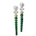 Emerald Drop Earrings with diamonds and pearls