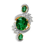 Emerald Swan Ring with Round and Marquise diamonds