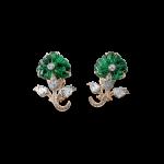 Carved Mughal Flower Emerald Earrings