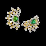 Oval Emerald and Diamond Earrings
