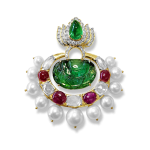 Emeralds Pendant With Diamonds, Rubies, White Sapphires and Pearls