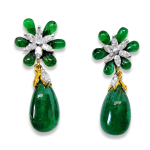 Emerald Drops And Diamond Flower Earring